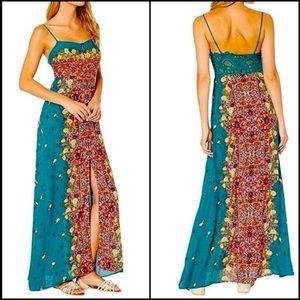 Free People Green Print Maxi Sundress Slip Dress